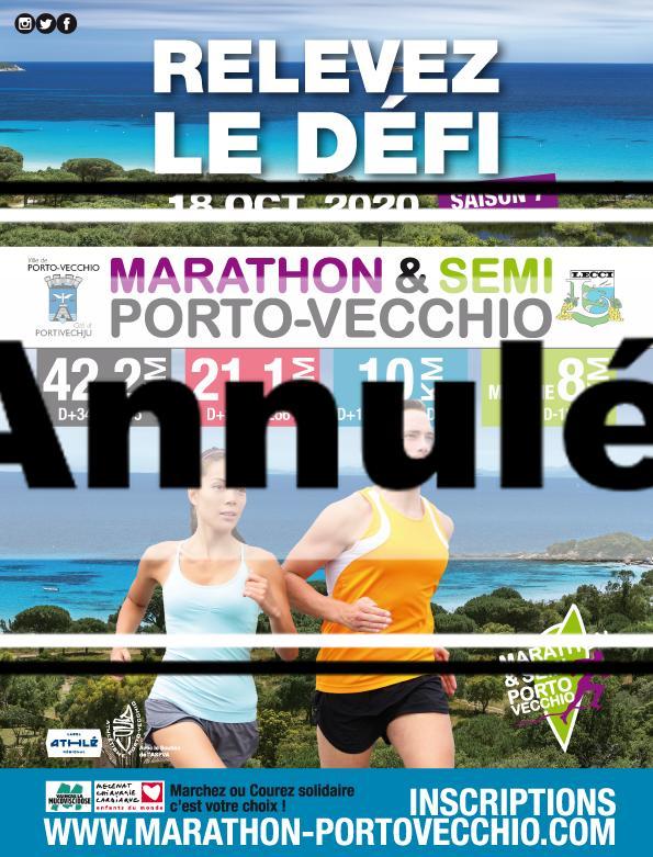 Porto-Vecchio:42,195Km; 21,1Km; 10Km et 8Km Marche sportive