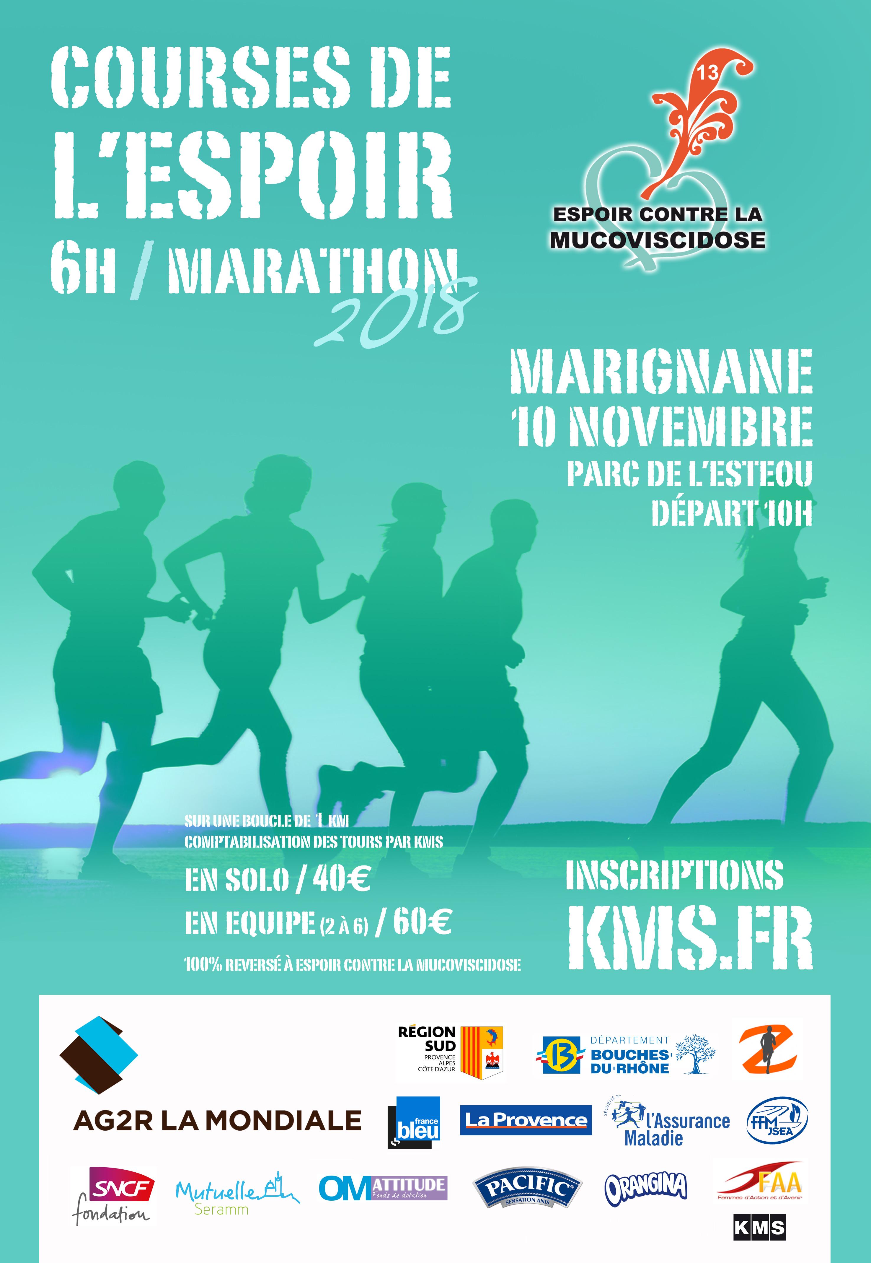 Marathon Espoir : en relais (equipe de 2 à 6 maxi)