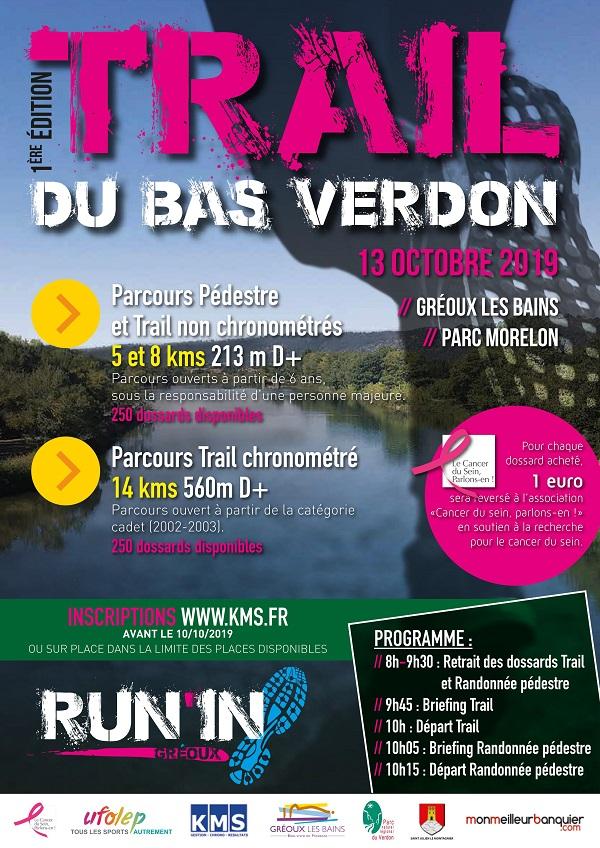 Trail Bas Verdon - Rando pedestre 5 ou 8km