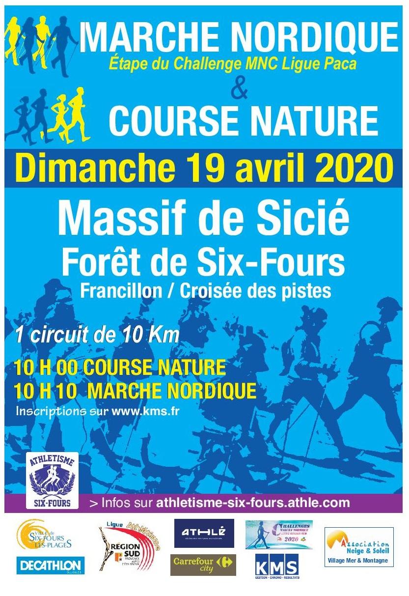 Affiche MARCHE NORDIQUE et COURSE NATURE MASSIF DE SICIE