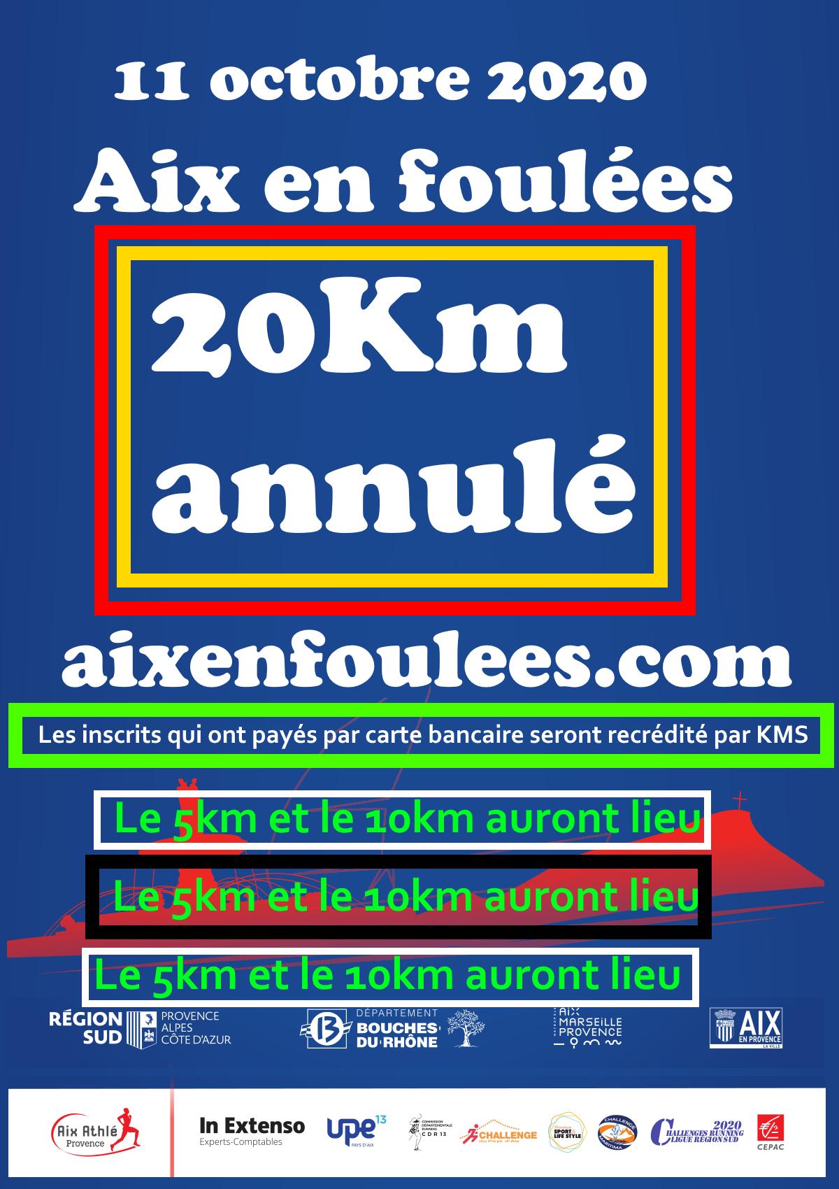 Affiche Aix en Foulées 20Km annulé : 11/10/2020